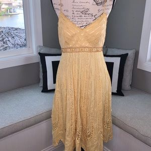 Sue Wong Beaded Eyelet Spaghetti Strap Dress